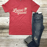Local Yocal Tee- Heather Red