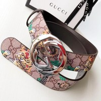 GUCCI New fashion more letter tiger print leather couple belt