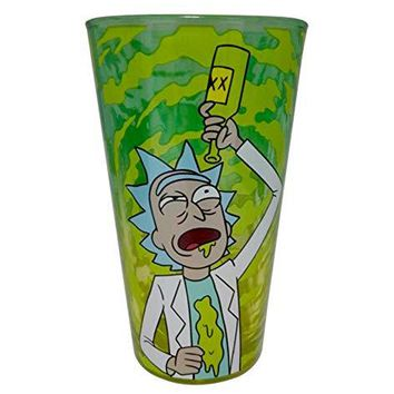 "Official Rick and Morty""RIGGETY RIGGETY WRECKED"" Pint/Beer/ Pub/Bar/Drinking/Funny Glass, Set of 1, 16 OZ. GIFTs - Drinking Glasses/Barware"