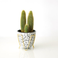 WEST GERMAN POTTERY Small Planter, Jasba 'Cortina' Glaze, Designed 1956, Black and White, Brass Holder or Frame, Plant Pot, Made in Germany