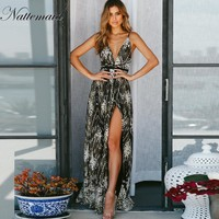 Sexy Women Sequins Long Dress women Backless V-neck Embroidery Club Party Dresses Maxi side split