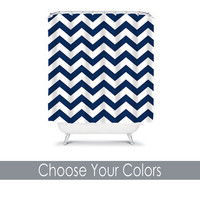 Shower Curtain CUSTOM Navy White Chevron Nautical Bathroom Bath Polyester Made in the USA You Choose Colors