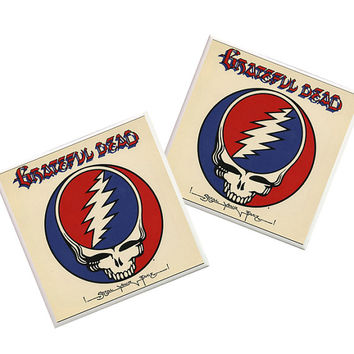 2 Grateful Dead Coasters, ceramic tiles, grateful dead stuff, grateful dead decor, decorative tiles, rock coasters, rock star coasters
