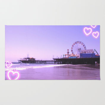 Santa Monica Pier Purple Hearts Area & Throw Rug by Christine aka stine1