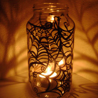 Spider Web Mason Jar Candle Holder Halloween decor black spooky shadows hand painted up cycled glass
