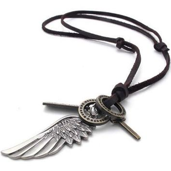 SHIP BY USPS KONOV Mens Vintage Angel Wing Cross Pendant Brown Leather Cord Necklace Chain, Silver