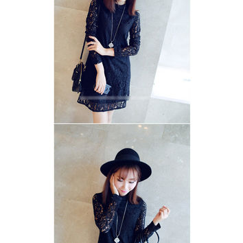 Korea retro bottoming lace dress with high collar and a half