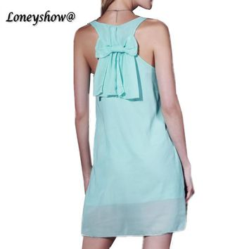 Summer Style Chiffon Dress 2016 Sexy V Neck Candy Color butterfly sleeve loose Dresses S-XXL Plus Size Women clothing Vestidos