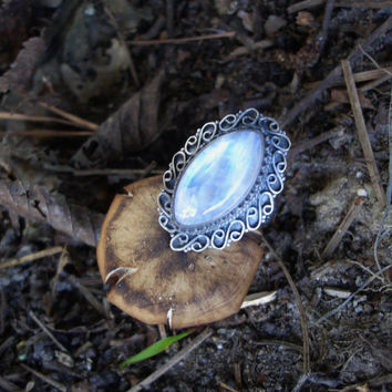 Moonstone ring, oxidized ring, 925 silver ring, gemstone ring, rainbow moonstone ring, moonstone jewelry, size 6 1/2 ring, goth ring