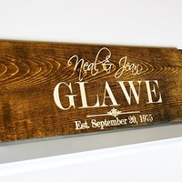 Personalized Family Name Sign Wedding Gift Custom Carved Wooden Signs Last Name Décor Established Wood Plaque 3D Engraved Couple Anniversary .sign#221