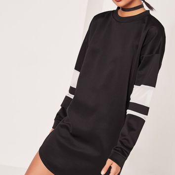 Missguided - White Mesh Insert Jumper Dress Black