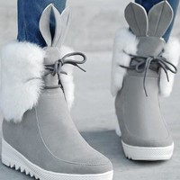 New Grey Round Toe Wedges Lace Fashion Ankle Boots