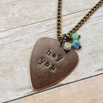 "Metal Guitar Pick ""Hey You"" Necklace, Pink Floyd Vintaj Hand Stamped"