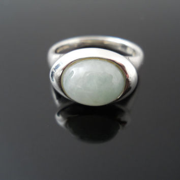 Jadeite Ring, Sterling Silver Ring, Jade Ring, Cabochon Ring, Size 9 Ring, Vintage Jadeite, 925 Jadeite Ring, Staement Ring, Sterling Ring