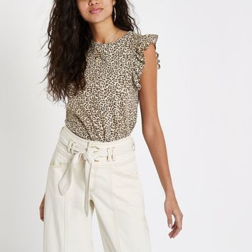Beige leopard print frill tank top - Print T-Shirts / Tanks - T-Shirts & Tanks - Tops - women