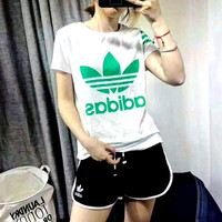 Adidas smith print short sleeve sportswear women top shorts suit H-YF-MLBKS