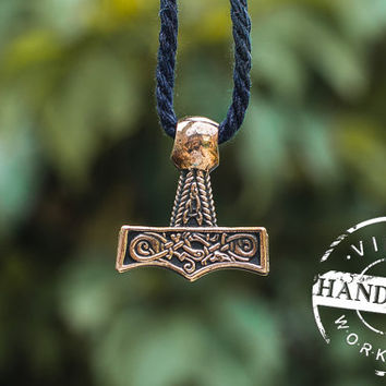 Thor's Hammer Mjolnir Pendant Viking Amulet Bronze Necklace Scandinavian Norse Jewelry