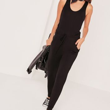 Missguided - Jersey Sleeveless Jumpsuit Black