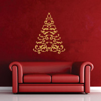 Vinyl Wall Decal Christmas Tree Calligraphy Scrolls 22483