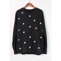 Stars Pattern Embroidered Cotton Blend Color Matching Sweatershirt For Women
