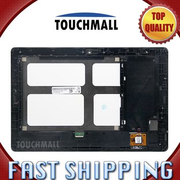 For New LCD Display Touch Screen with Frame Assembly Replacement Lenovo Tab A10-70 A7600 A7600-F A7600-H Black Free Shipping