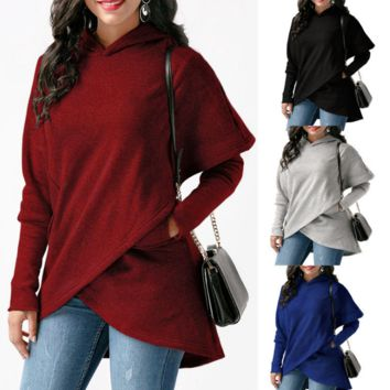 Loose Hooded Irregular Pocket Sweater