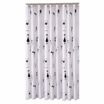 Cartoon Black Cat Designer Mildew-Free Water-Repellent Fabric Shower Curtain Liners Bathroom Polyester Waterproof Curtains 180CM