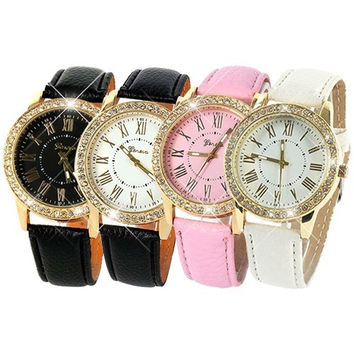 Women's Fashion Gold Crystal Geneva Roman Numerals Dial Leather Bracelet Quartz Cute Casual Wrist Watch Hot Sale = 1932742852
