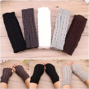 1 Pair Women Mittens Fingerless Arm Warmers Knitting Woolen Arm Sleeve Women