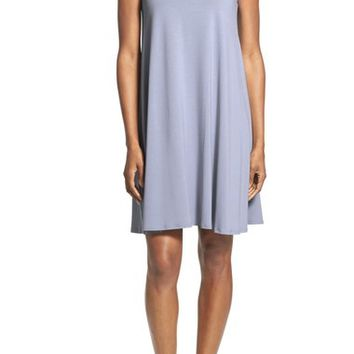 Eileen Fisher Lightweight Jersey Bateau Neck Knee Length Dress (Regular & Petite) | Nordstrom