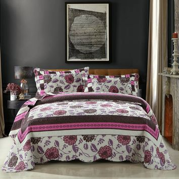 DaDa Bedding Bohemian Floral Chrysanthemum Vines Hot Pink & Brown Reversible Patchwork Quilted Coverlet Bedspread Set (KBJ1629)