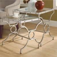 Two-Piece Nesting Tables Tempered Glass Tops Satin Silver Finish Home Furniture
