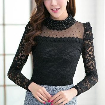 New Style Women Clothing Top Sell Women Casual Lace Blouses Shirts Long Sleeve Solid Blouses