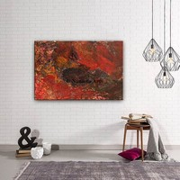 """Painting, Red Mixed Media Abstract Painting framed Red Media Wall Art Decor by Nandita Albright 36""""x24""""(91x61cm)"""