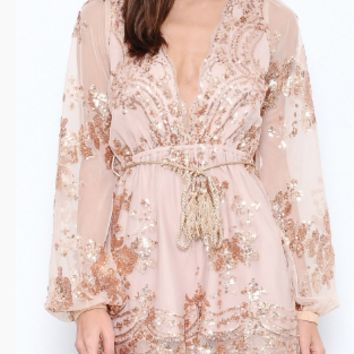 Rose Gold Long Sleeves Sequined Romper (PREORDER)