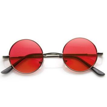 Small Lennon Vintage Inspired Round Circle Color Lens Metal Sunglasses 8702