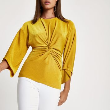 Dark yellow knot front top - Blouses - Tops - women