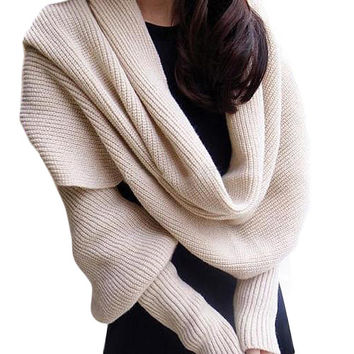 2016 hotWomen Solid Scarf With Sleeve Crochet Knit Long Soft  Winter Shawl Scarves  8R9O