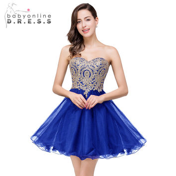 Sweetheart Royal Blue Short Homecoming Dresses 2017 Burgundy A Line Tulle Mini Cocktail Party Dresses Robe Cocktail Courte