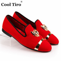 COOL TIRO Men Red Bottom Loafers Slippers Slip-on shoes Tiger and Metal iron Party Wedding Dress Men's Velvet Shoes formal Flats