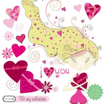 valentine girl clipart commercial use, vector graphics, digital clip art, digital images, instant download - PGCLPK448
