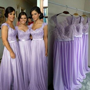 Country Bridesmaid Dresses A Line Lilac Bridesmaid Dress Long Appliques Modest Bridesmaid Gown Bruidsmeisje Jurk Volwassenen