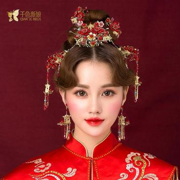Chinese bride headdress costume red floral hairpin wedding  hairwear and earrings photography wedding hair accessories jingyi