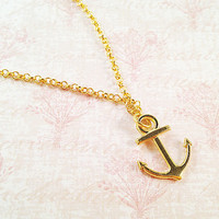 Gold Anchor Necklace - Nautical Anchor Charm - Simple Gold Necklace - Minimalist Necklace - Short Chain Necklace - Gold Plated Necklace