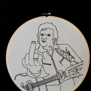 Johnny Cash Embroidered Wall Art by AllNightDiner on Etsy