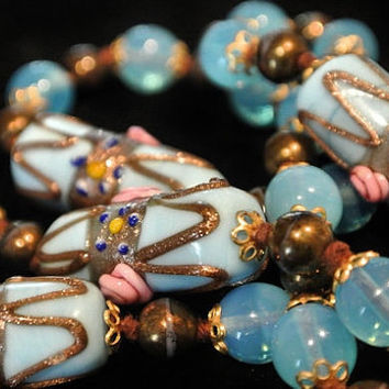 1940s Venetian Murano Necklace Wedding Cake Beads Opalite Art Glass Necklace Blue Pink Beaded  Antique Necklace Hand Knotted Italy Italian