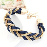 Metal and Rope Braided Bracelet - Various Colors