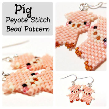 Pig - Seed Bead Patterns, Peyote Stitch - DIY beaded charm, earrings, pendants - Animal Bead Patterns