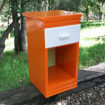 Orange & White Nightstand Wood w/ drawer Small Petite Night Stand Bedroom Furniture Hand Painted Vintage Green Accent Kids Room Modern Table