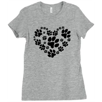 cat love paw Ladies Fitted T-Shirt